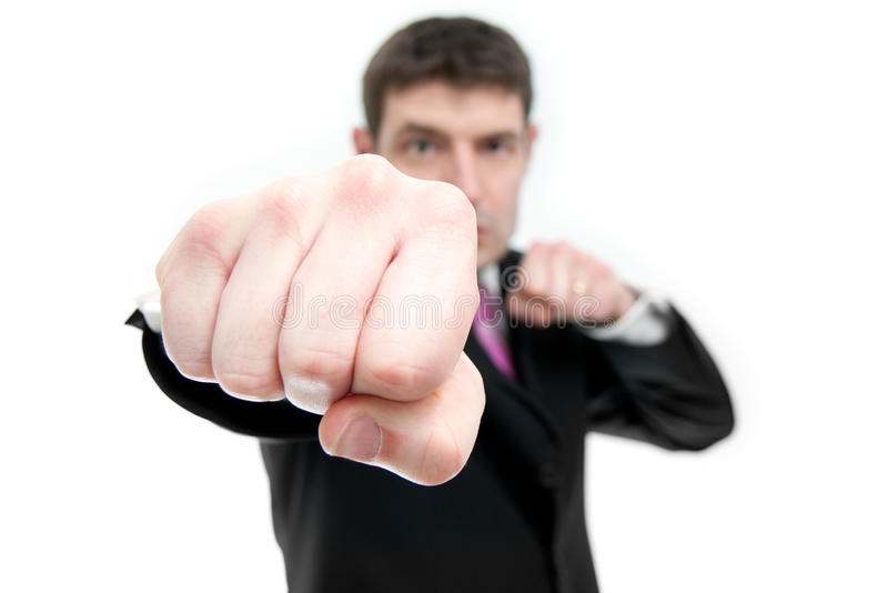 Businessman Punching royalty free stock photos