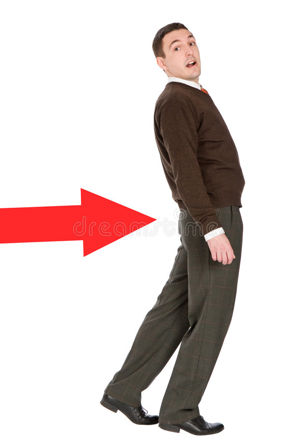 Download Businessman Pushed With Arrow Stock Photo - Image: 5041166