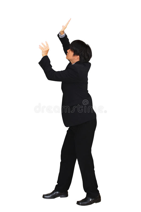 Businessman pushing away virtual obstacles. Isolated over white with clipping path stock photos