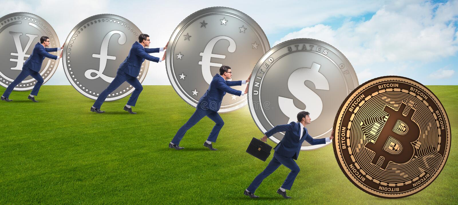 Businessman pushing bitcoin in cryptocurrency concept. The businessman pushing bitcoin in cryptocurrency concept stock image
