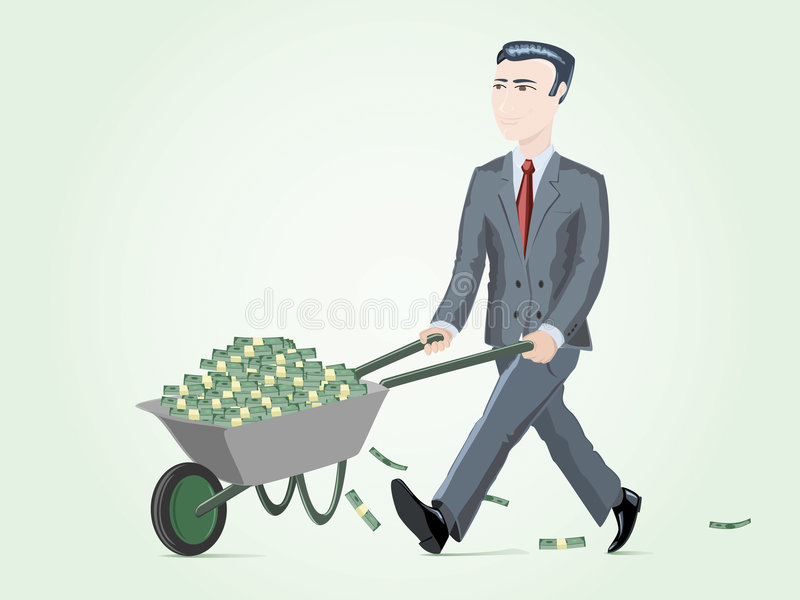 Businessman pushing cart full of money royalty free stock photography