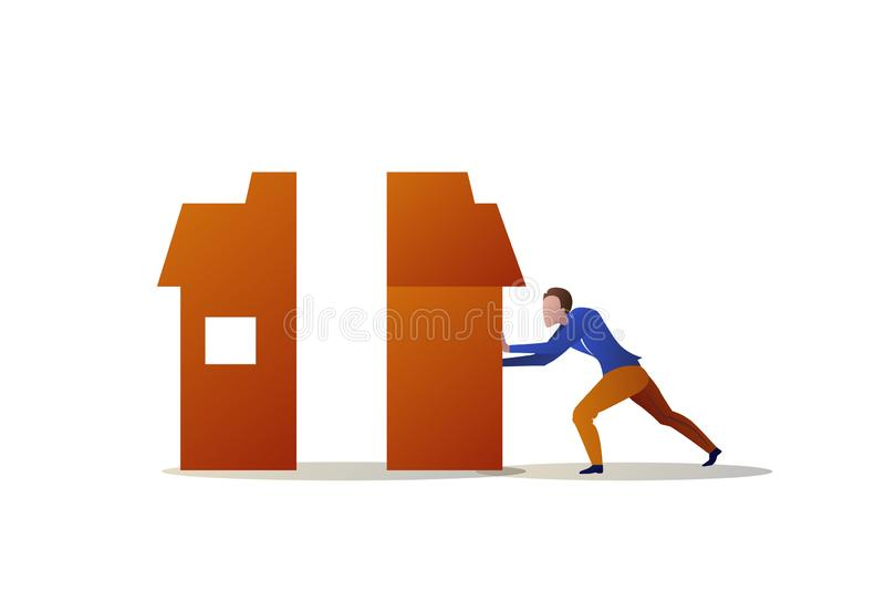 Businessman pushing half house each other problem solution concept man building home compose two parts horizontal royalty free illustration