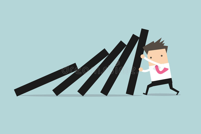 Businessman pushing hard against falling deck of domino tiles. Vector royalty free illustration