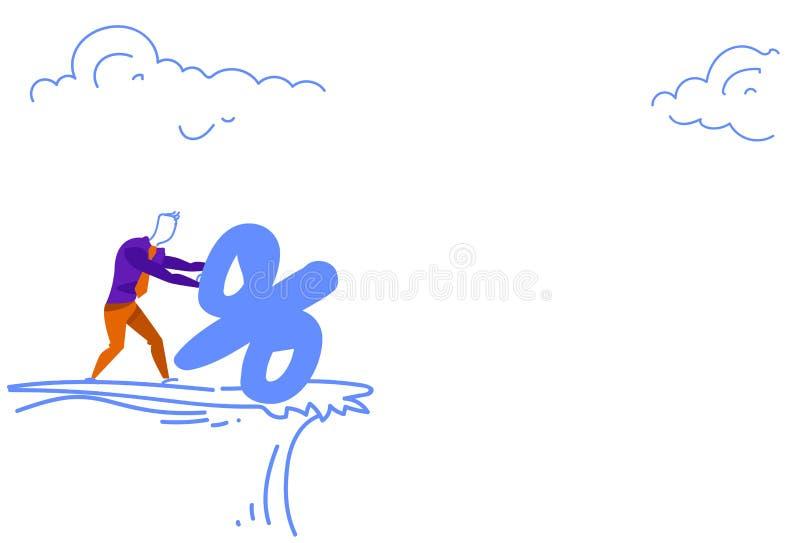Businessman pushing percent credit debt mountain cliff gap abyss finance crisis risk concept sketch doodle horizontal. Vector illustration royalty free illustration