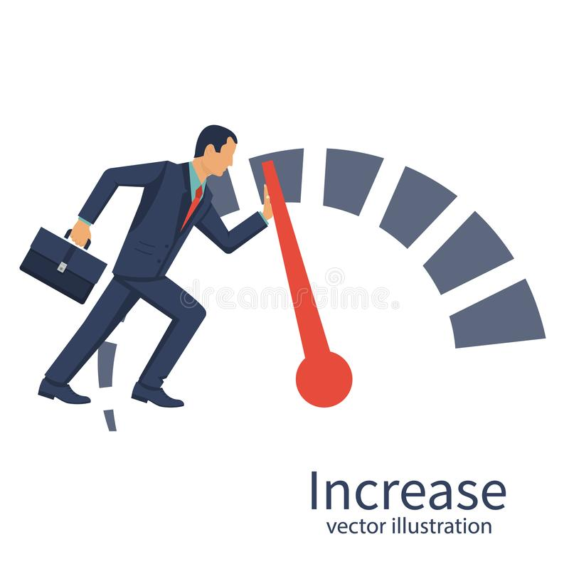 Businessman pushing speedometer scale increase in profit stock illustration