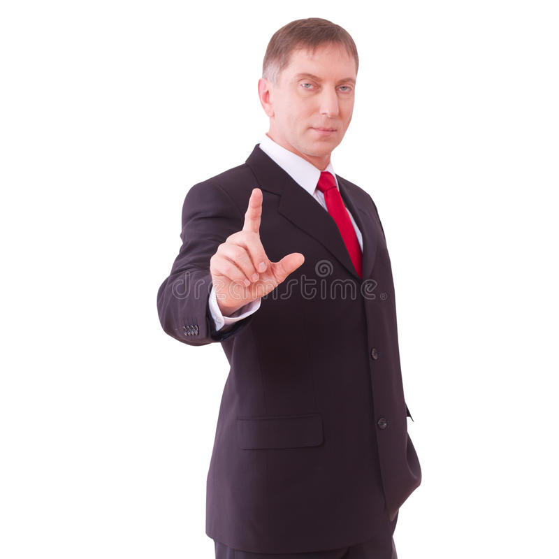 Businessman pushing on touch screen interface. stock image
