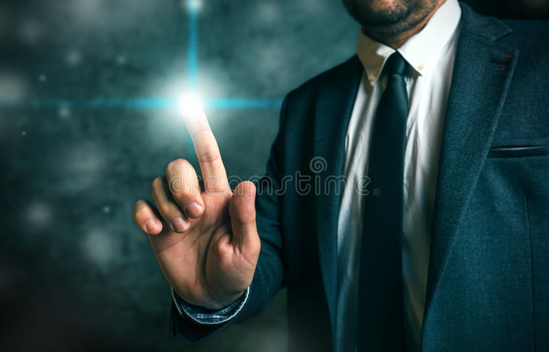 Businessman pushing virtual screen interface button royalty free stock photos