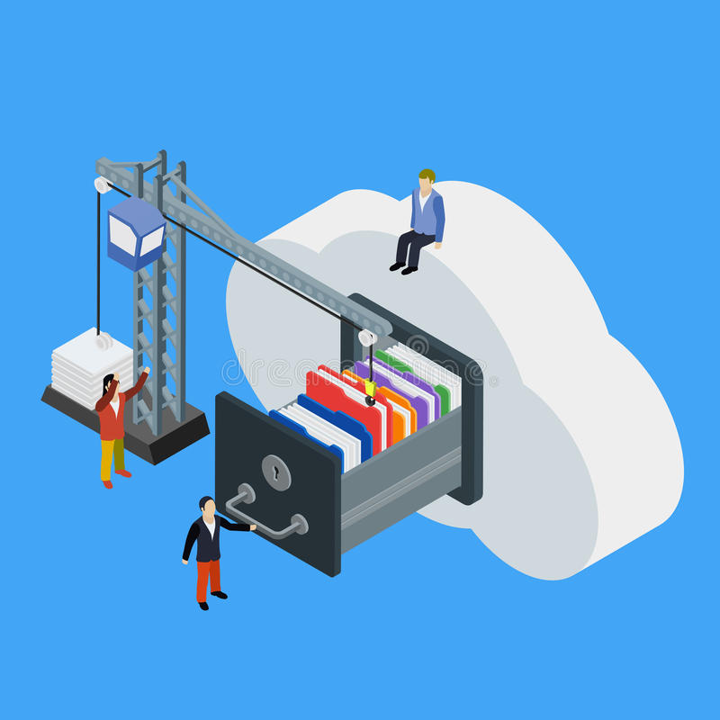 Businessman put in document drawer folder in cloud-shaped cabinet. Cloud data storage flat 3d isometric business technology server concept web vector stock illustration