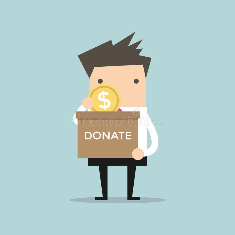 Businessman putting coin in the donation box. Vector illustration stock illustration