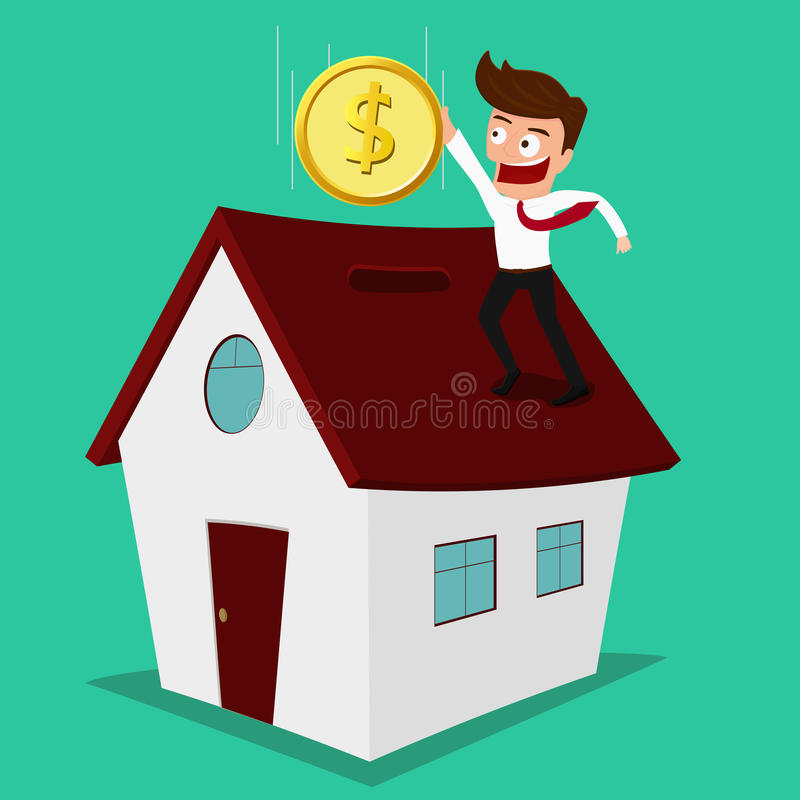 Businessman putting coin inside the house ,real estate investment. royalty free illustration