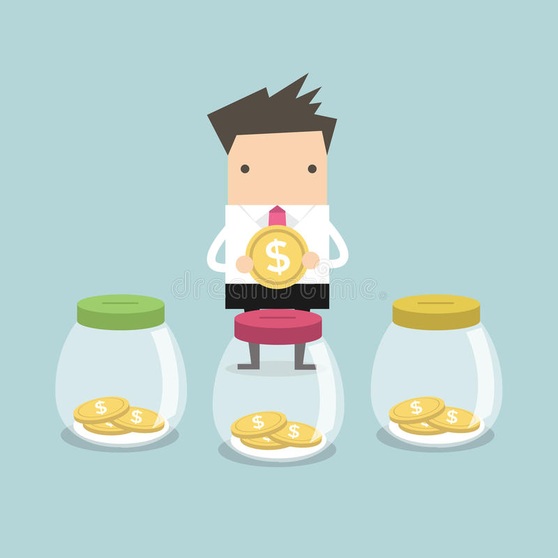 Free Businessman Putting Coin Into Jar Royalty Free Stock Images - 65941969