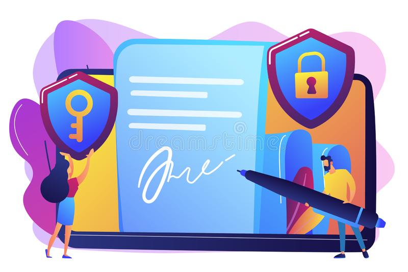 Electronic signature concept vector illustration. Businessman putting electronic signature on document, security shields. Electronic signature, e-signature stock illustration