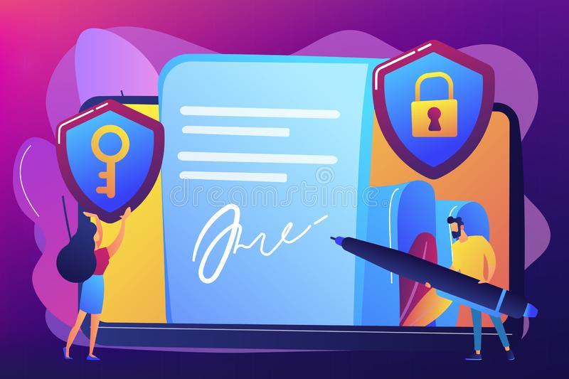 Electronic signature concept vector illustration. Businessman putting electronic signature on document, security shields. Electronic signature, e-signature vector illustration