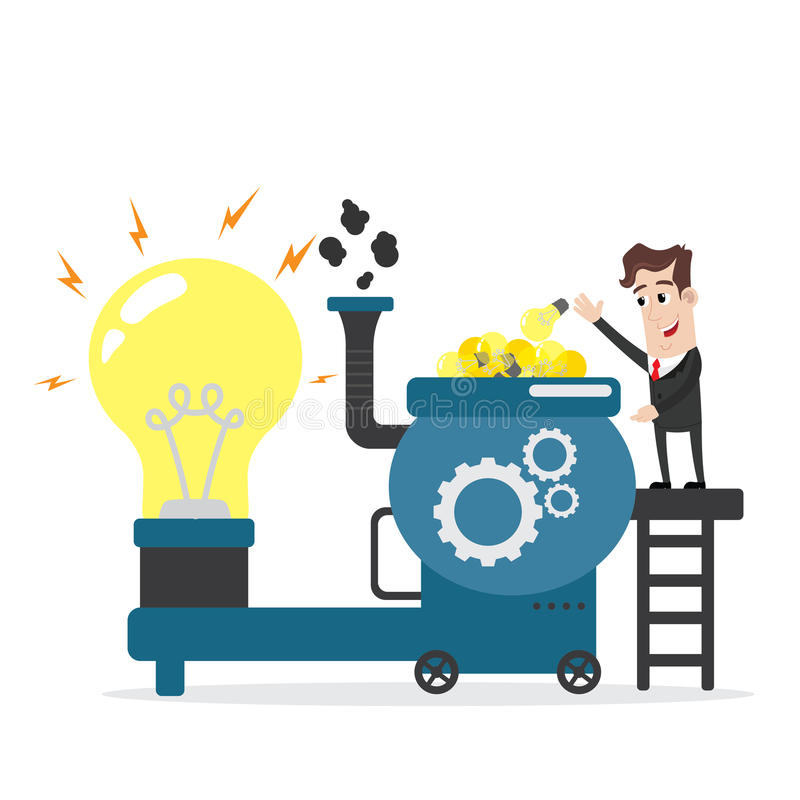 Businessman putting lots of idea bulbs into machine royalty free illustration