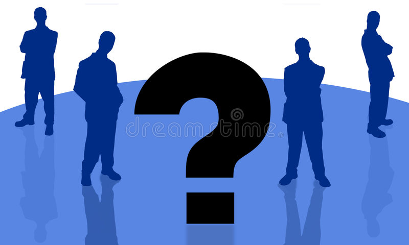 Businessman and question-3 royalty free illustration