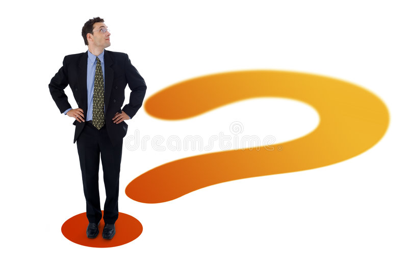 Businessman on question mark. Businessman standing on the point of a question mark, looking up to an imaginary (your custom) product, text or whatever you put royalty free illustration
