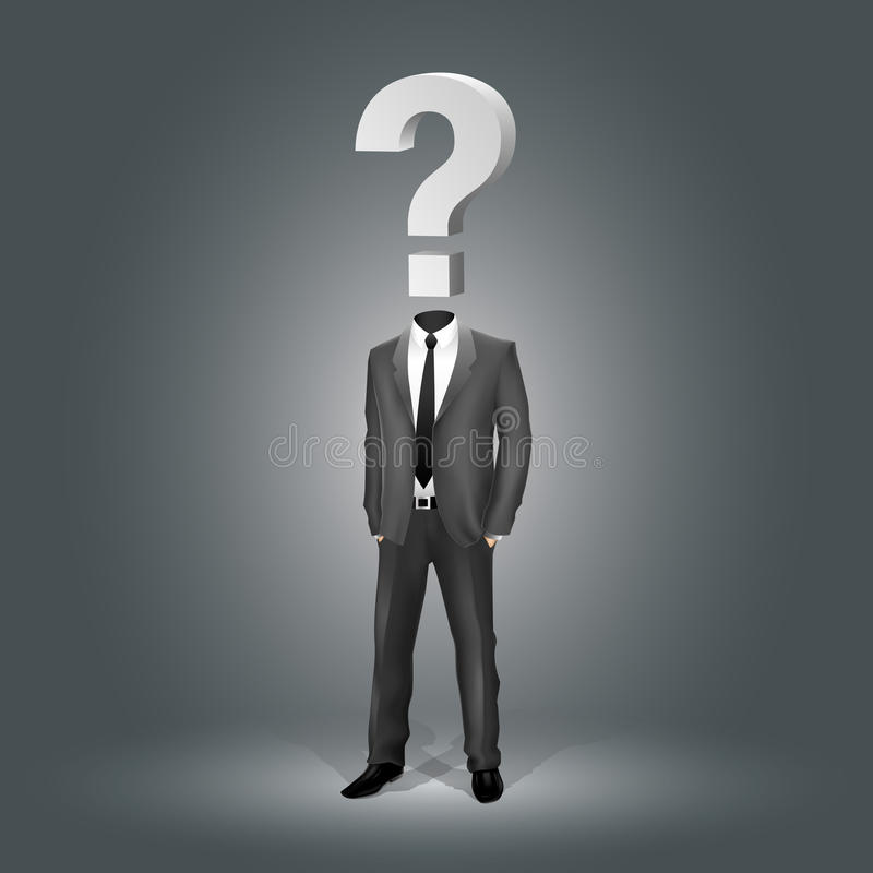 Businessman with Question Mark Head royalty free illustration