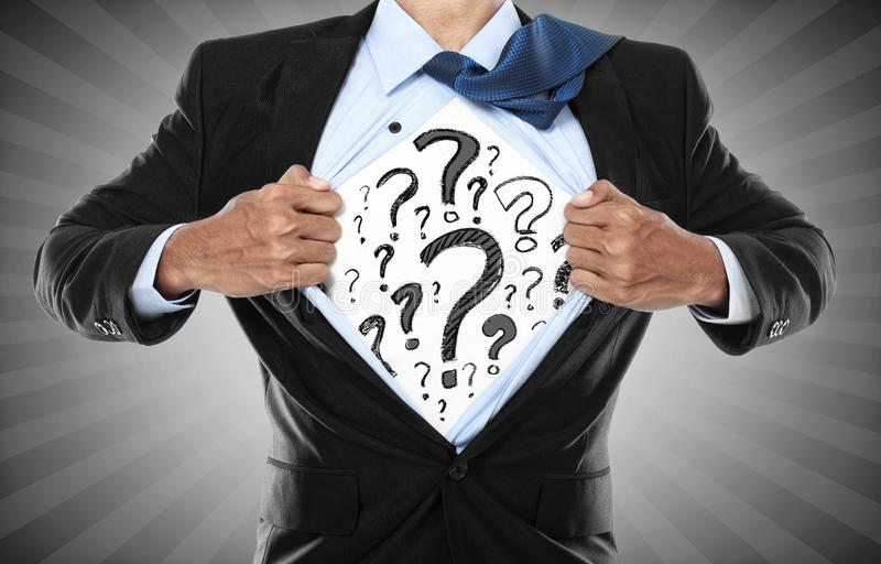 Businessman question mark royalty free stock images