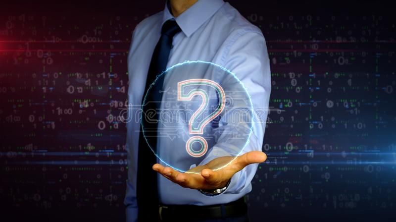 Businessman with question mark symbol hologram. Man with dynamic question mark symbol hologram on hand. Businessman and futuristic concept of knowledge, faq stock image