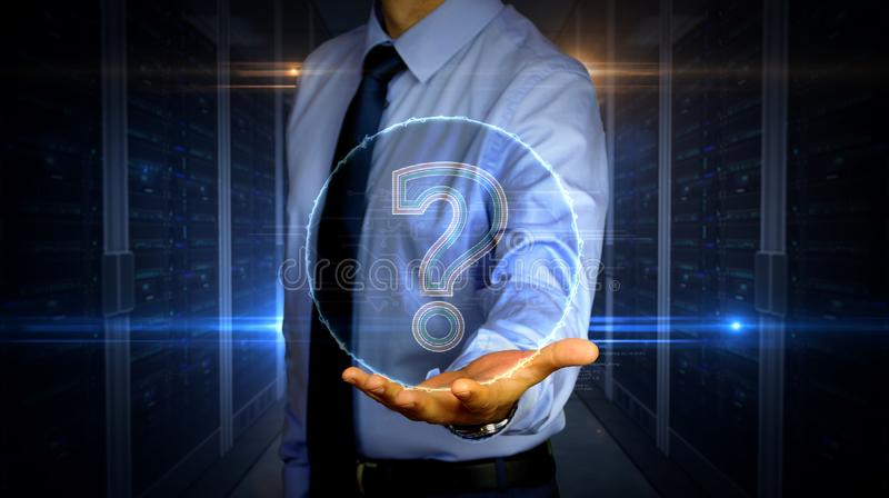 Businessman with question mark symbol hologram. Man with dynamic question mark symbol hologram on hand. Businessman and futuristic concept of knowledge, faq stock photos