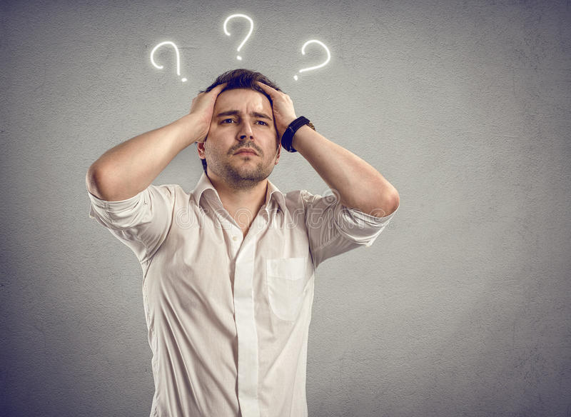 Businessman question royalty free stock photos