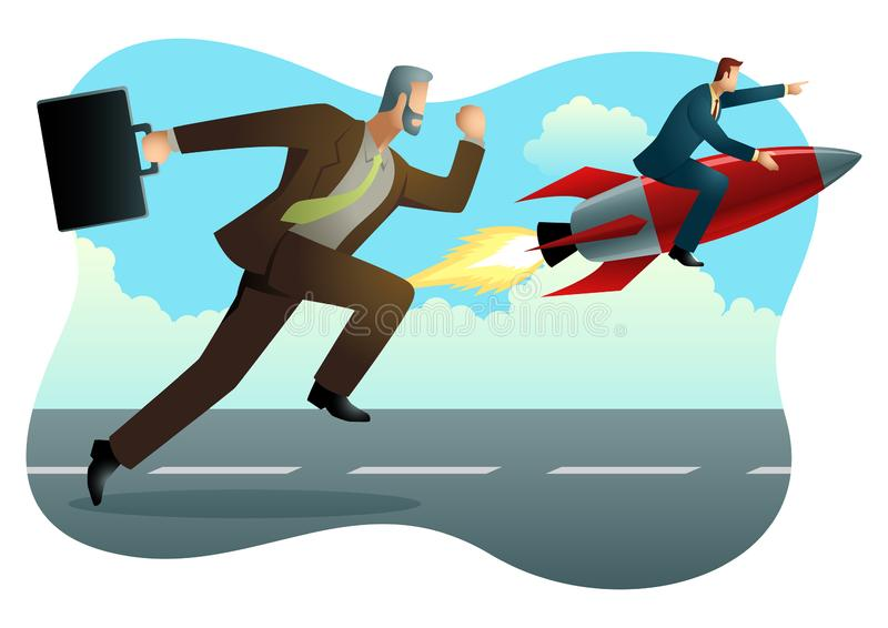 Businessman racing with a businessman on rocket stock illustration