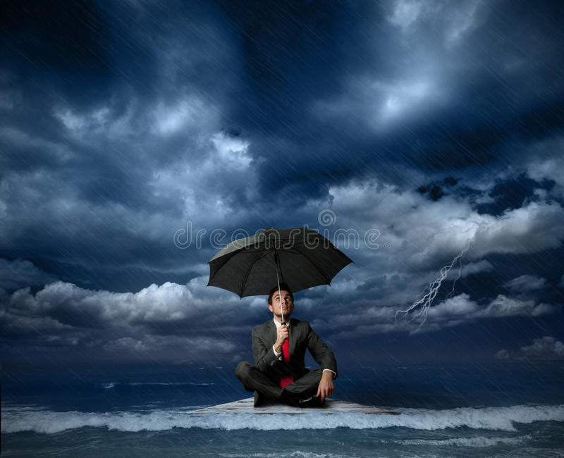 Download Businessman on a raft stock photo. Image of cloud, business - 24544506