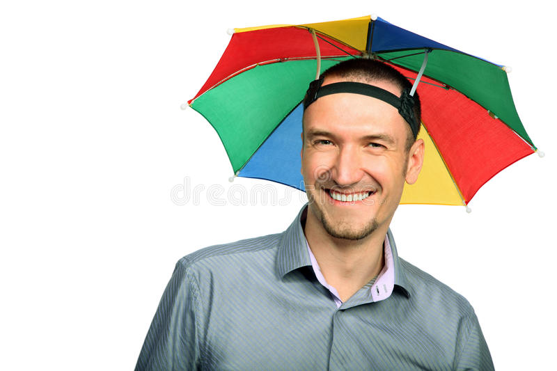 Businessman With Rainbow Hat Umbrella Stock Photo