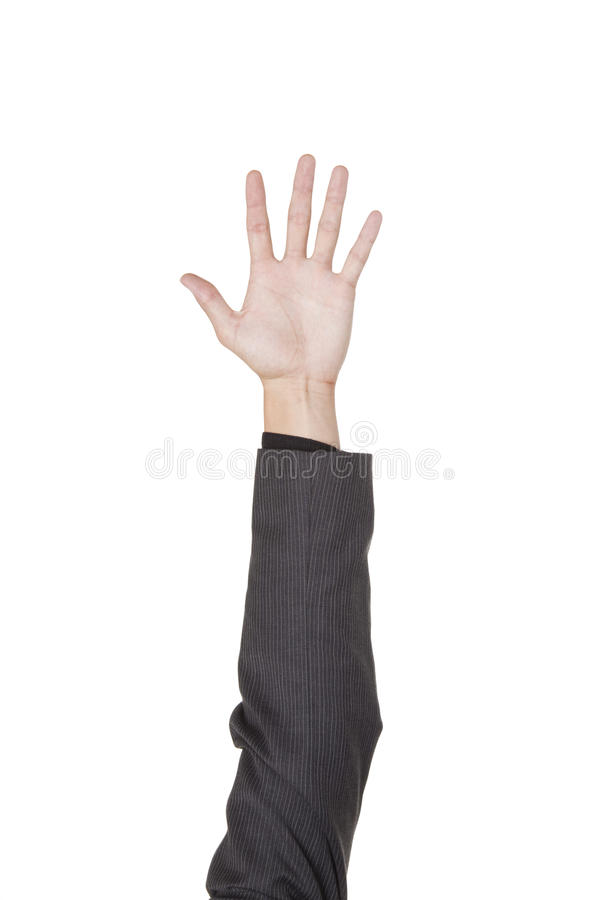 Businessman - raise your hand stock image