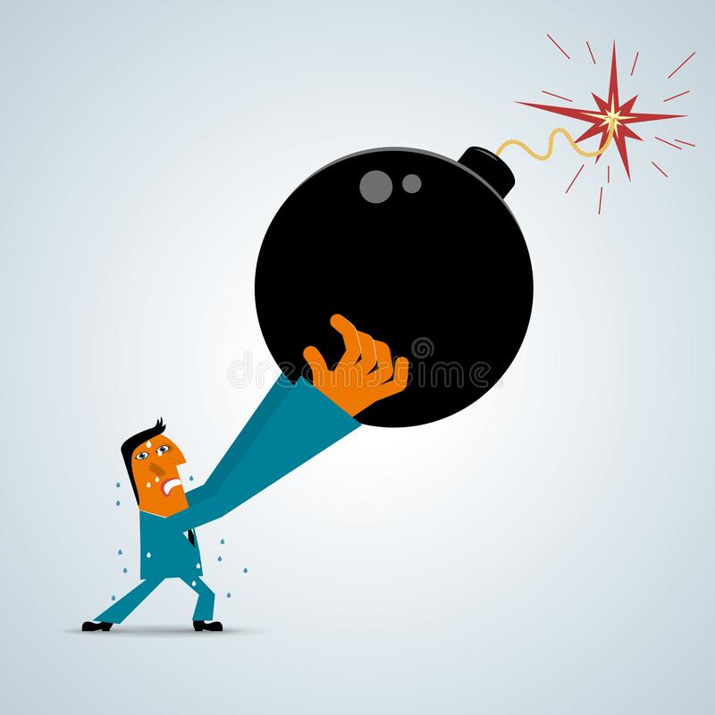 The businessman raised the bomb. The businessman raised the bomb, Businessman wearing a blue suit, The bomb is black royalty free illustration