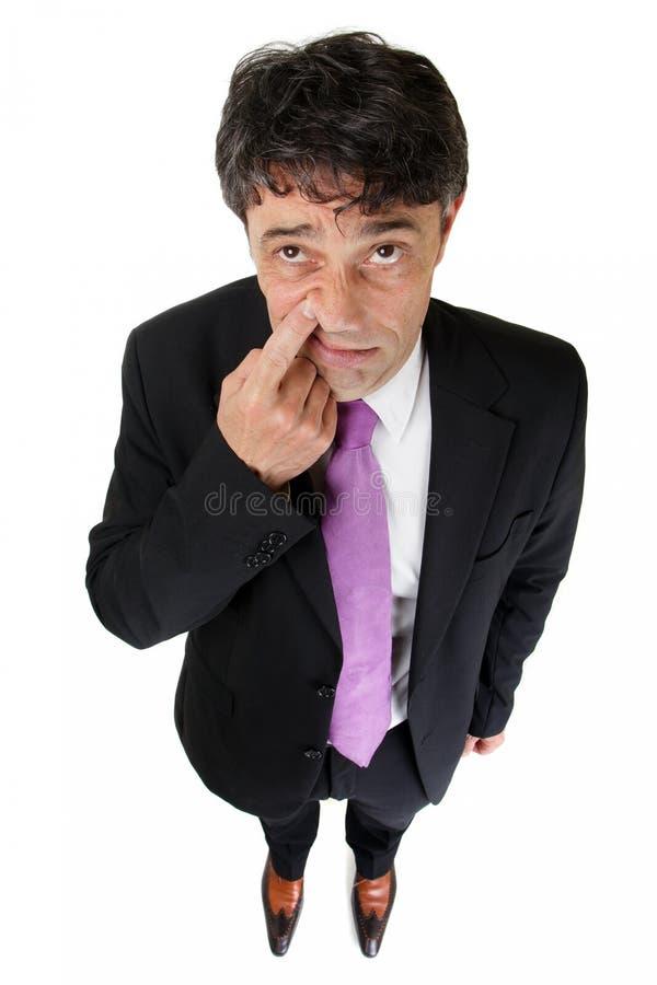 Businessman raising a finger royalty free stock image