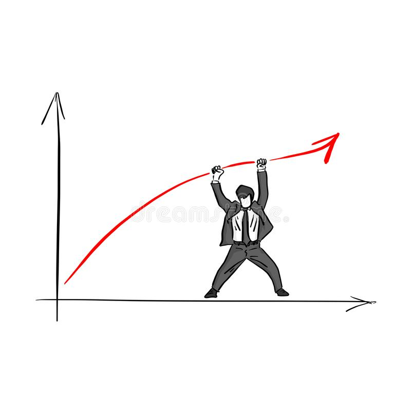 Businessman raising the red arrow up with two hands vector illustration sketch doodle hand drawn with black lines isolated on royalty free illustration
