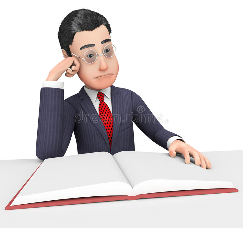 Businessman Reading Book Indicates School Reads e Corporation royalty illustrazione gratis