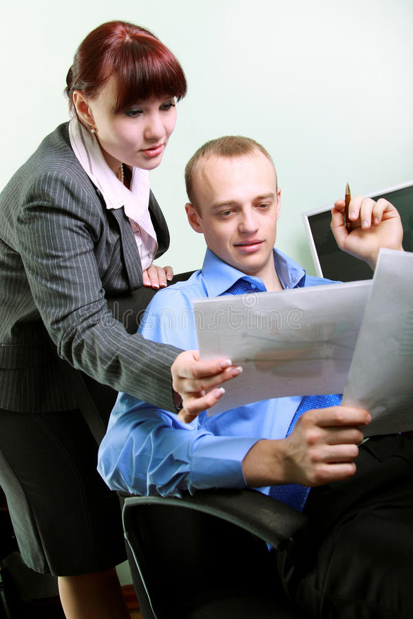 Businessman reading the documents stock photos