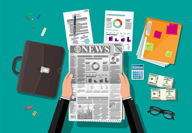 Daily newspaper in hands. Businessman reading daily newspaper. News journal design. Pages with various headlines, images, quotes, text and articles. Media vector illustration