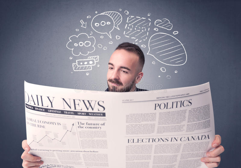 Businessman reading newspaper. Puzzled young businessman reading daily newspaper with speech bubbles above his head stock images