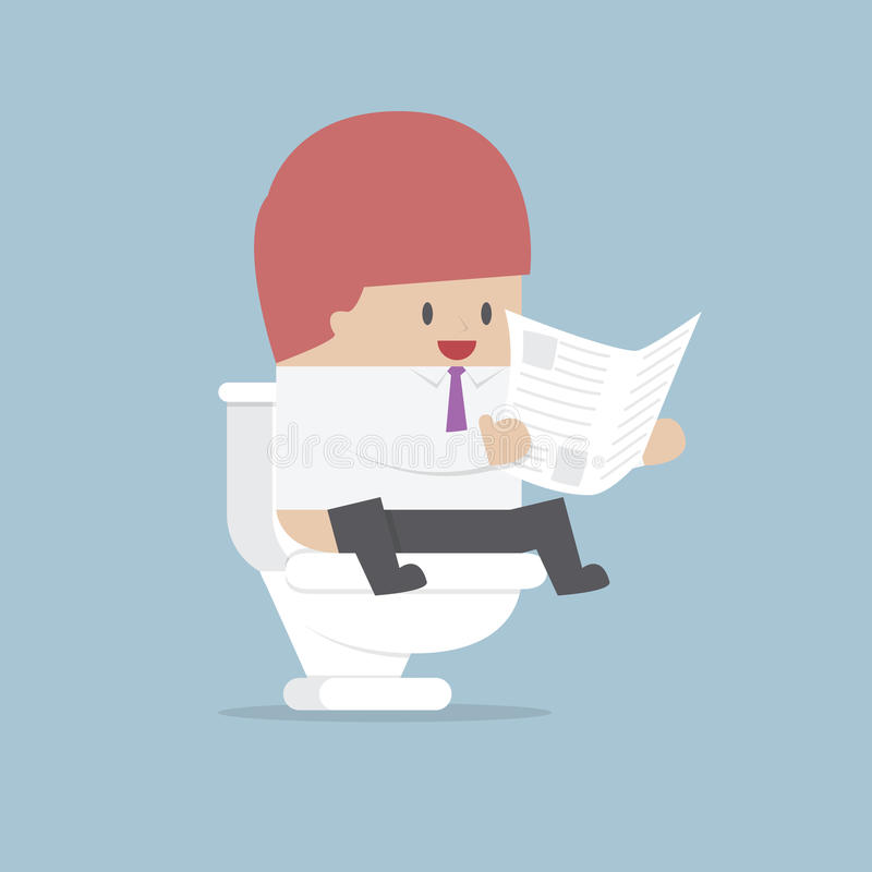 Businessman reading a newspaper in the toilet vector illustration