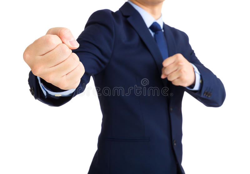 Businessman ready to fight stock photo