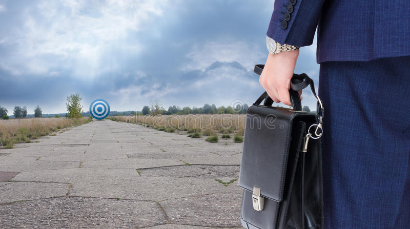 Businessman ready to overcome their goal. stock image