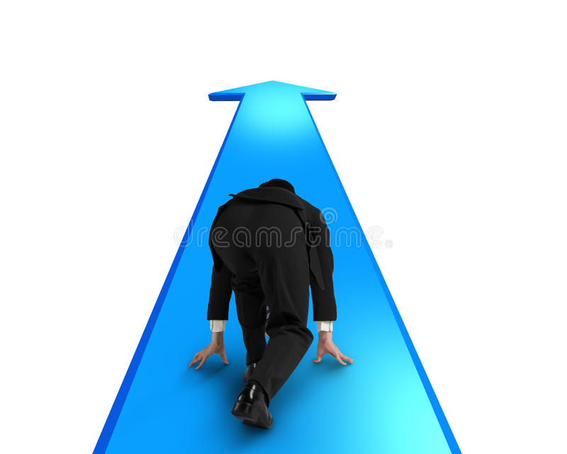 Businessman ready to race on blue arrow going way royalty free stock image