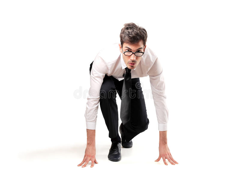 Businessman ready to run stock images