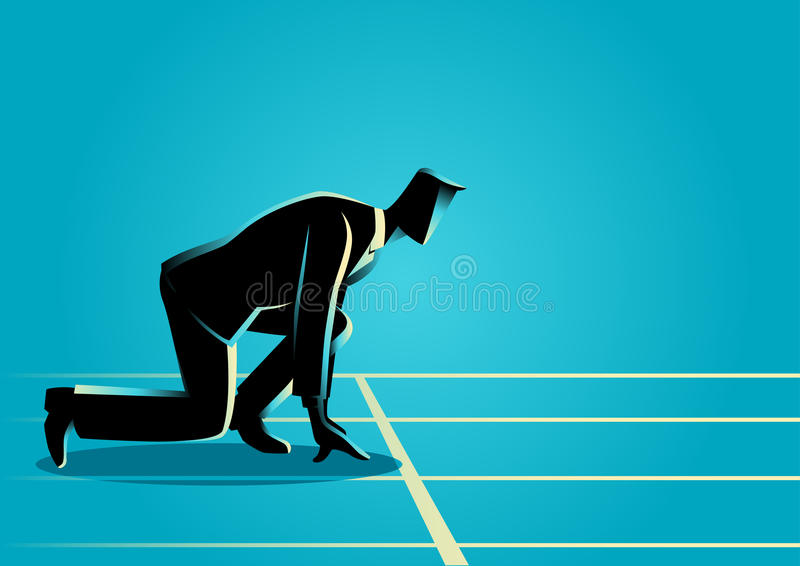 Businessman ready to sprint on starting line royalty free illustration