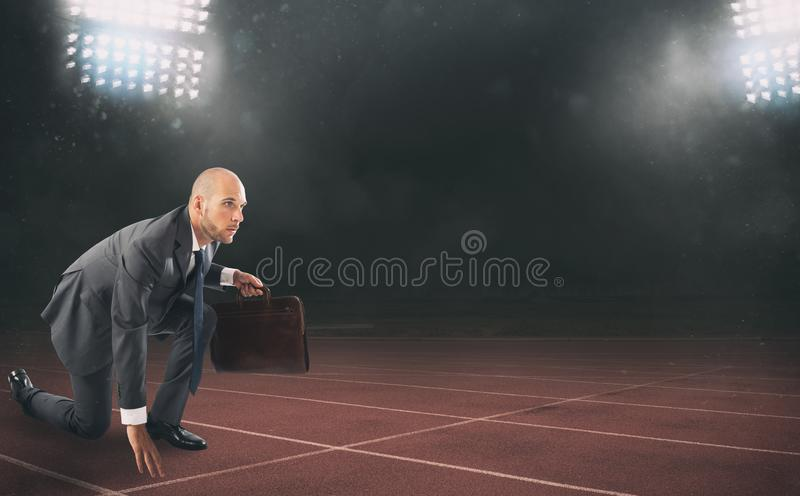 Businessman ready to start. Competition and challenge in business concept. stock photos