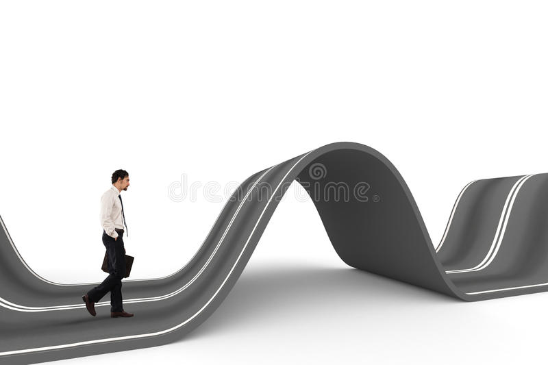Businessman ready to start on a complicated road. Concept of challenge stock photo