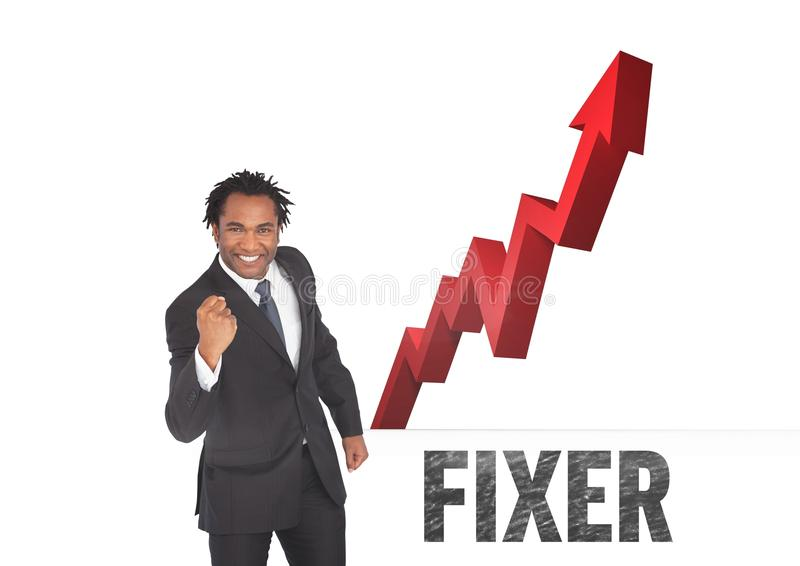 Businessman with red arrow fixer. Digital composite of businessman with red arrow fixer stock images