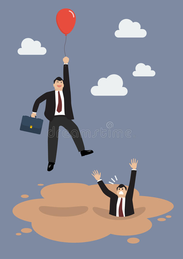 Businessman with red balloon get away from puddle of quicksand vector illustration