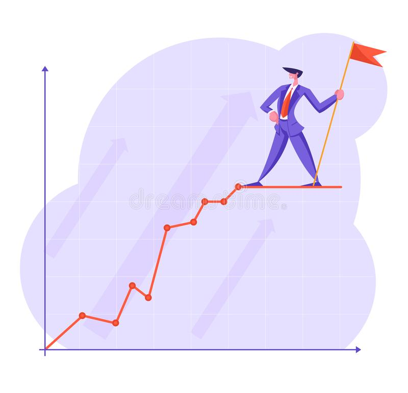 Businessman with Red Flag Stand on Top of Growing Business Chart Curve Line on Coordinate System vector illustration