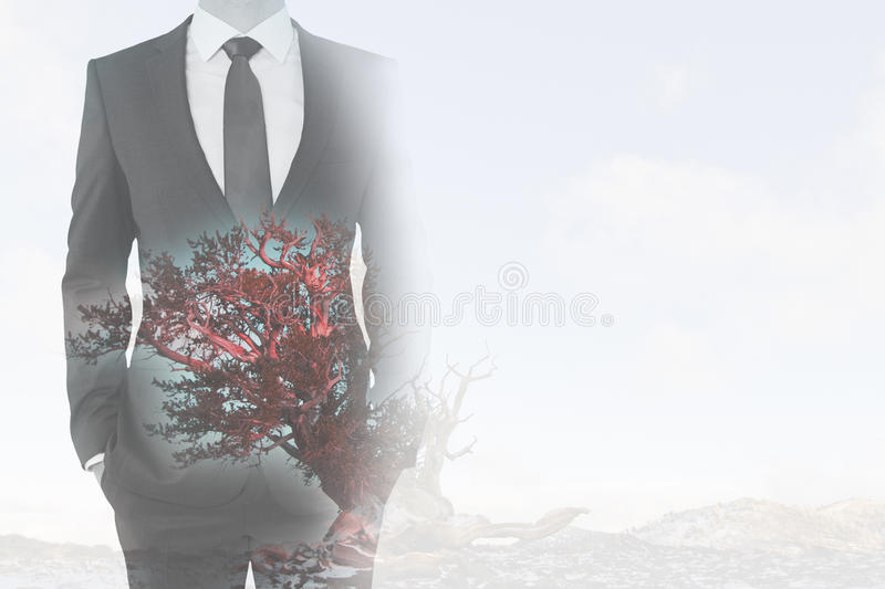 Businessman and red tree vector illustration