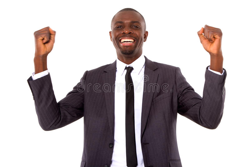 Businessman rejoices. In a white background stock images
