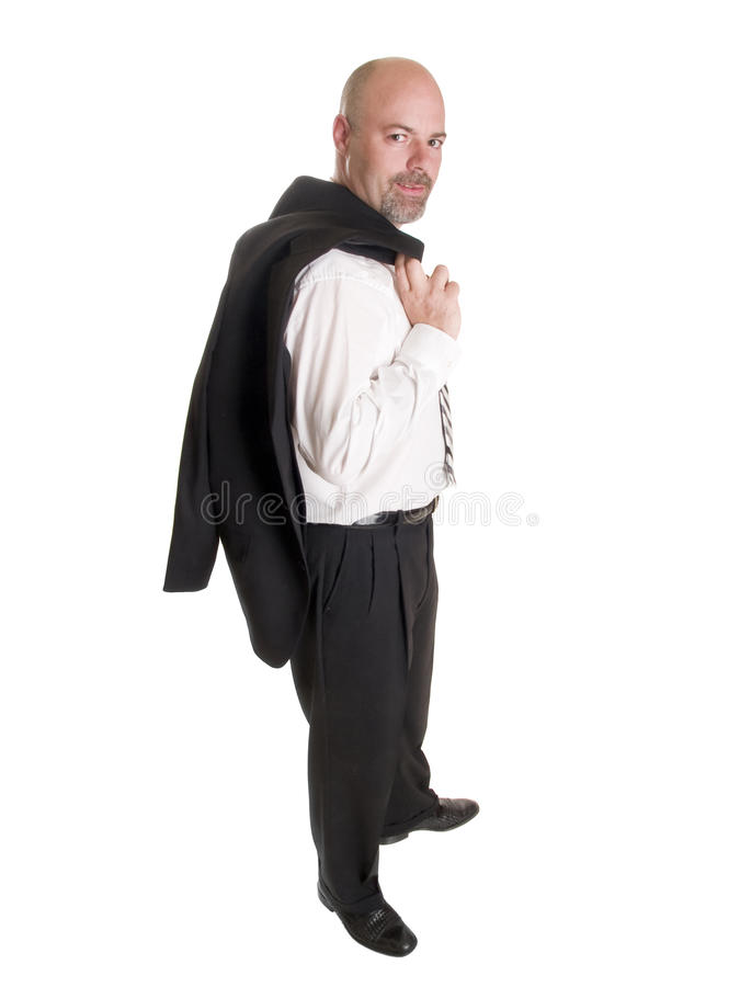Businessman - relaxed coat over shoulder royalty free stock photo